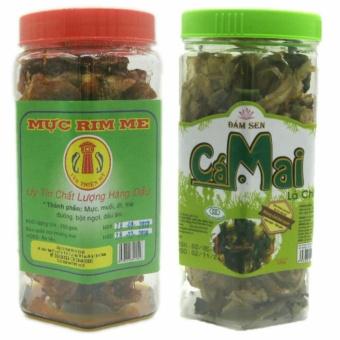 Combo 1 hộp Mực rim me đặc sản Phan Thiết loại hảo hạng 250g + 1 hộp cá mai lá chanh 120g