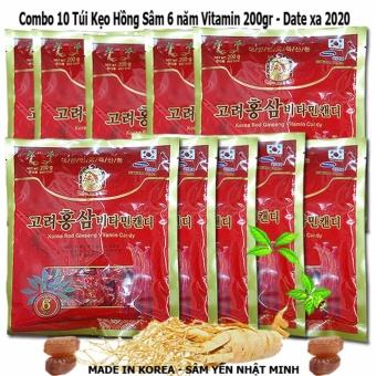 Combo 10 Kẹo Hồng Sâm Vitamin 6 Năm Tuổi Korea Hàn Quốc 200g/gói