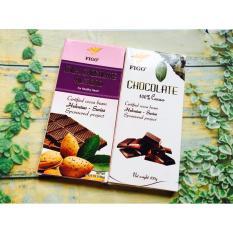 Combo 2 thanh Chocolate đắng 100% cacao + Hạnh nhân 200g Figo