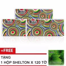 Combo 3 khăn Soft Pack Shelton Hoa Văn Tròn x 250 tờ tặng 1 hộp Shelton x 120 tờ