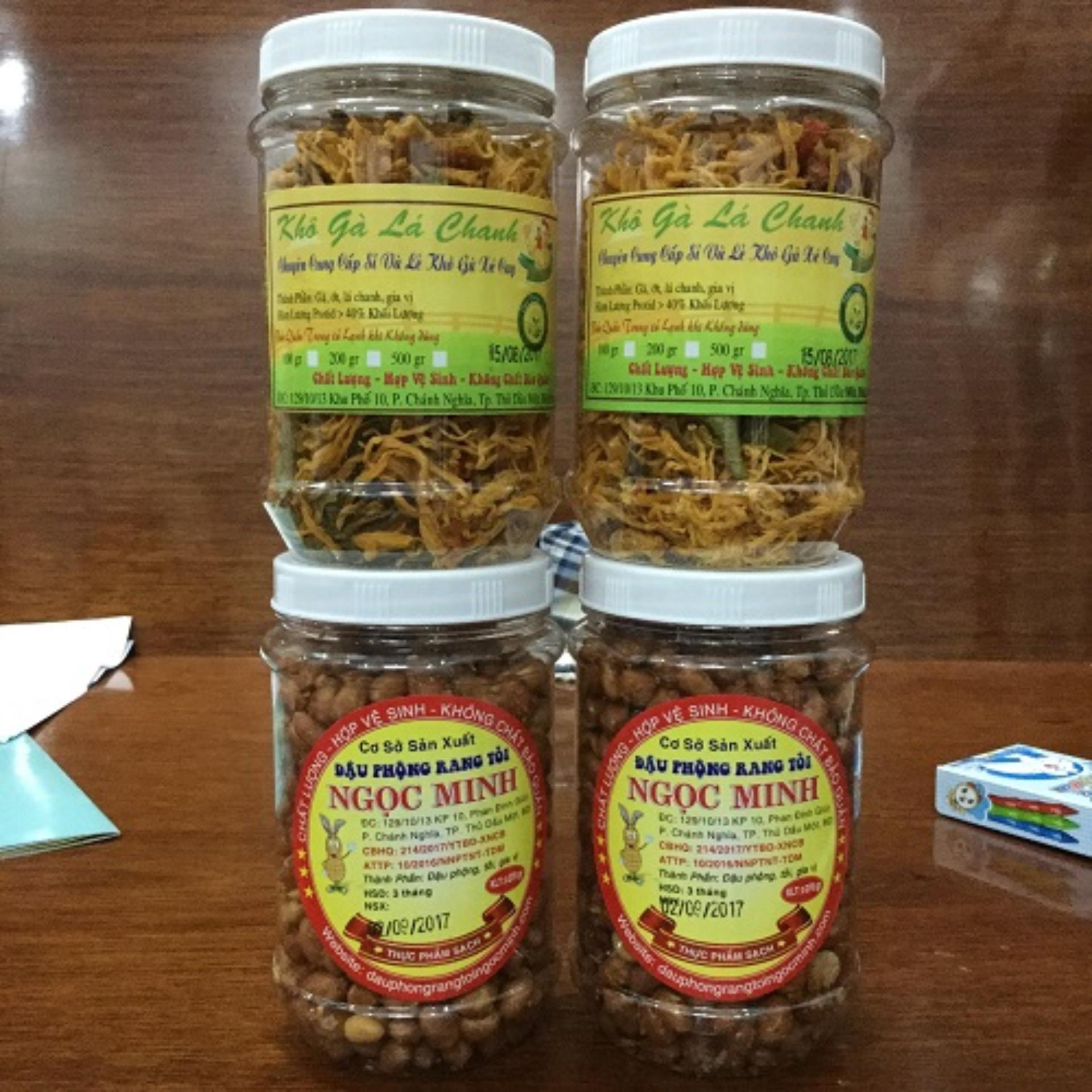 Báo Giá Combo 4 hủ (2 đậu phộng rang tỏi ớt loại 250gr + 2 khô gà lá chanh loại 100gr)- An toàn, chất lượng, vệ sinh
