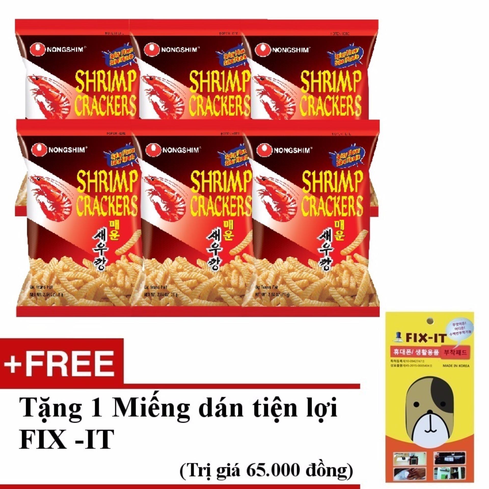 Bảng Báo Giá Bộ 6 gói bánh snack tôm cay nhập khẩu Hàn Quốc + Tặng miếng dán đa năng fit-it