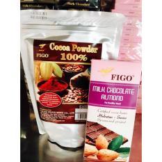 Combo Bột cacao nguyên chất 100% 500gram + Chocolate Hạnh Nhân Figo 100gram