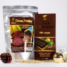 Combo Bột cacao nguyên chất 250g + Chocolate đen 70% cacao Figo 100g