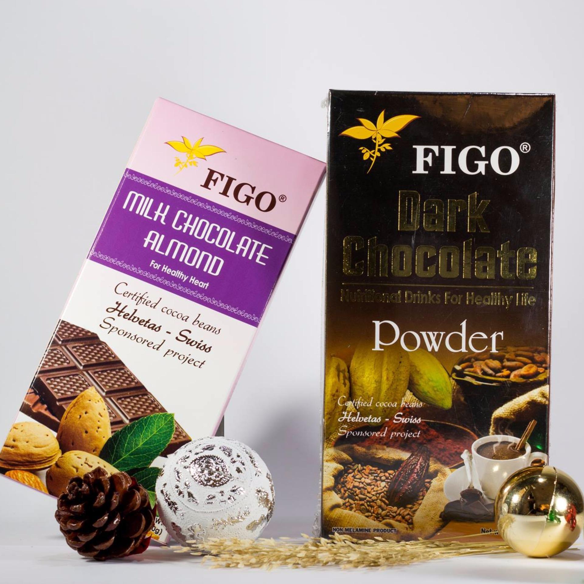 Chỗ bán Combo Bột dark chocolate 80% 250g + Chocolate Hạnh nhân Figo 100g