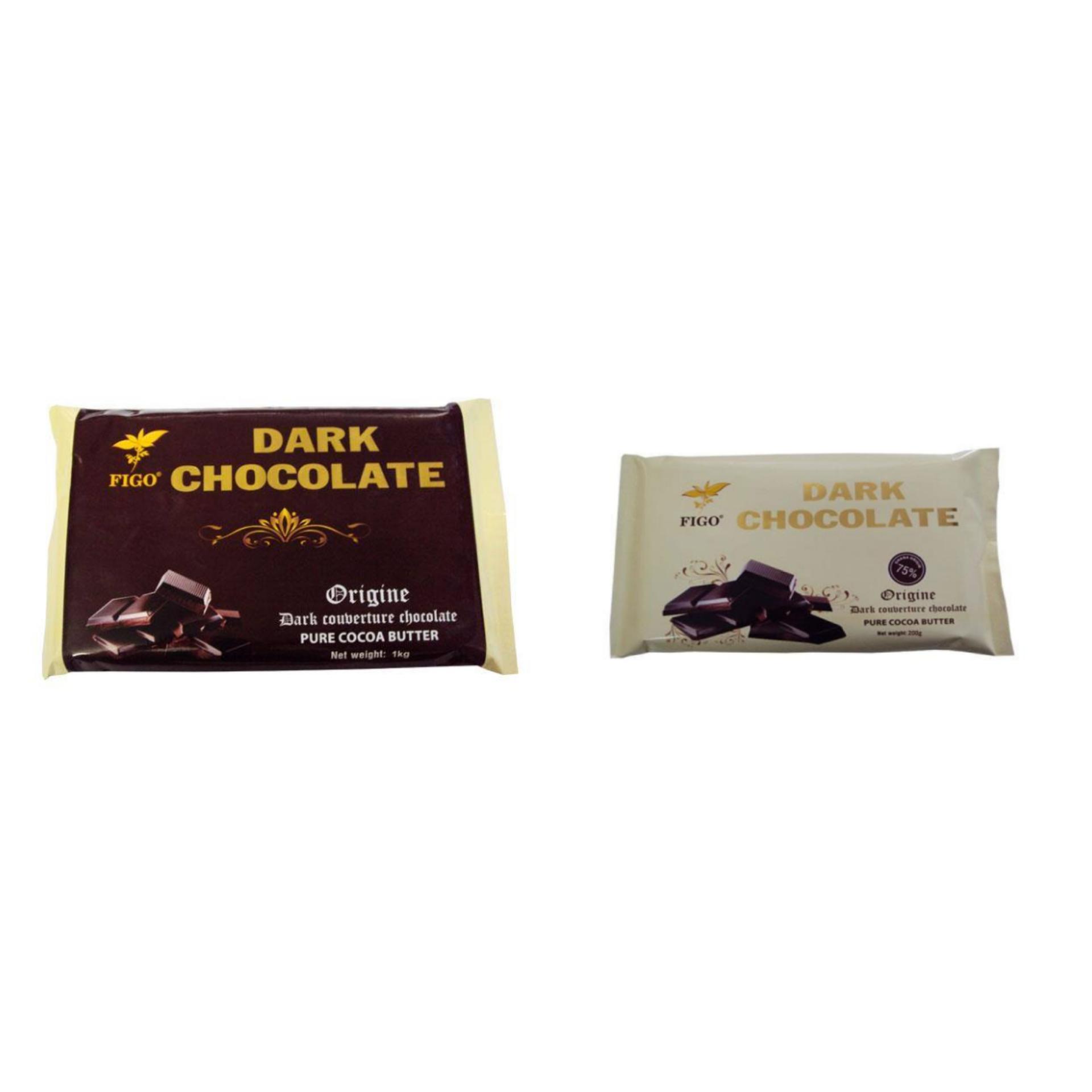 Chi tiết sản phẩm Combo Chocolate đen làm bánh 65% 500gram và Chocolate đen 75% 200gram