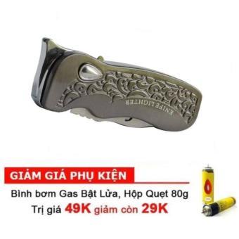 Dao bấm chuyên dụng có chốt an toàn F551 (Bạc) kim Bật lửa khò LX4 tặng bình bơm gas