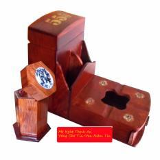 Gạt tàn có hộp chứa bao thuốc gỗ hương sang trọng kèm ống tăm (CGT01)