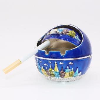 Gạt tàn thuốc lá hợp kim tinh cầu siêu sang trọng ( xanh dương )