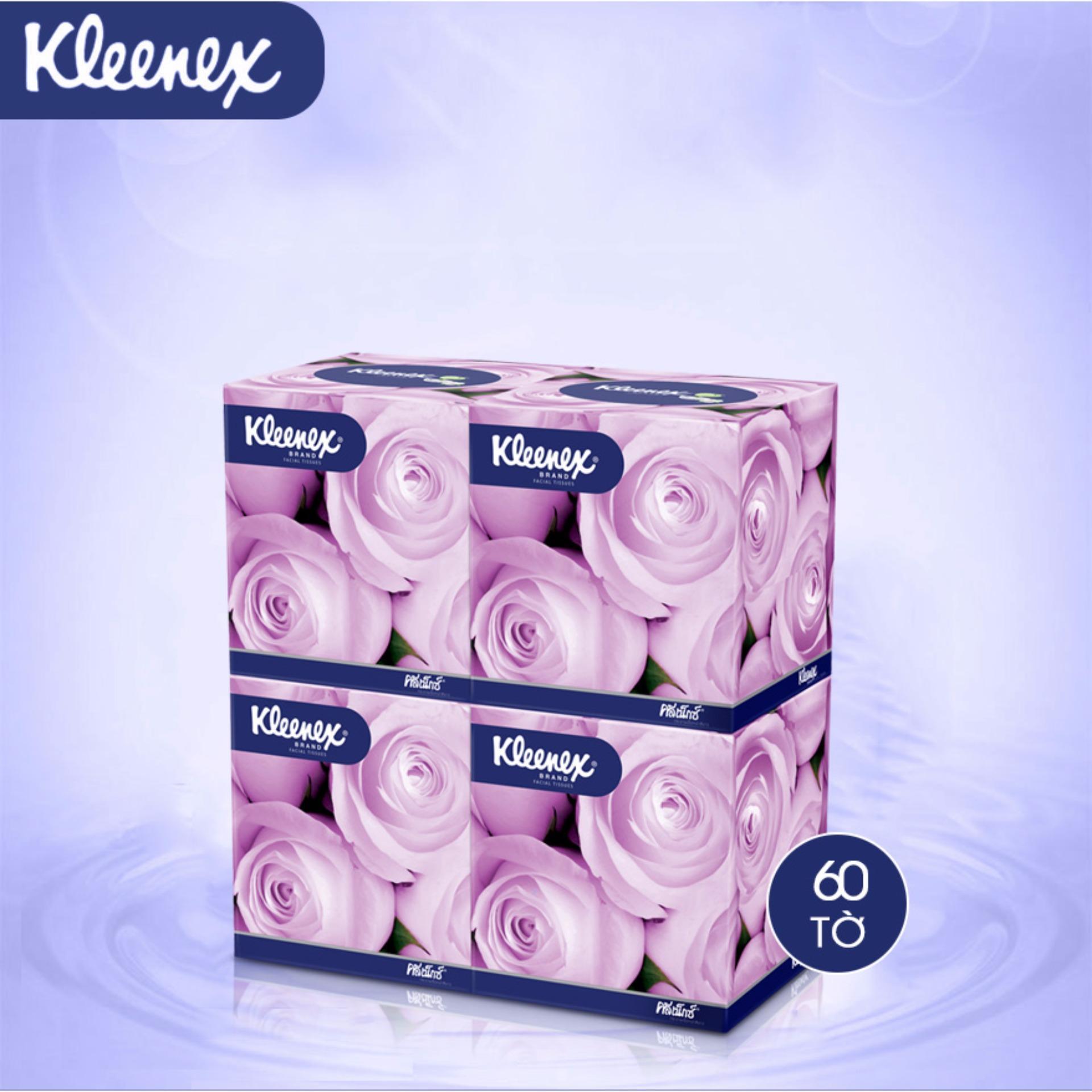 Giấy hộp vuông Kleenex Floral 2 lớp x 60 tờ / 1 hộp