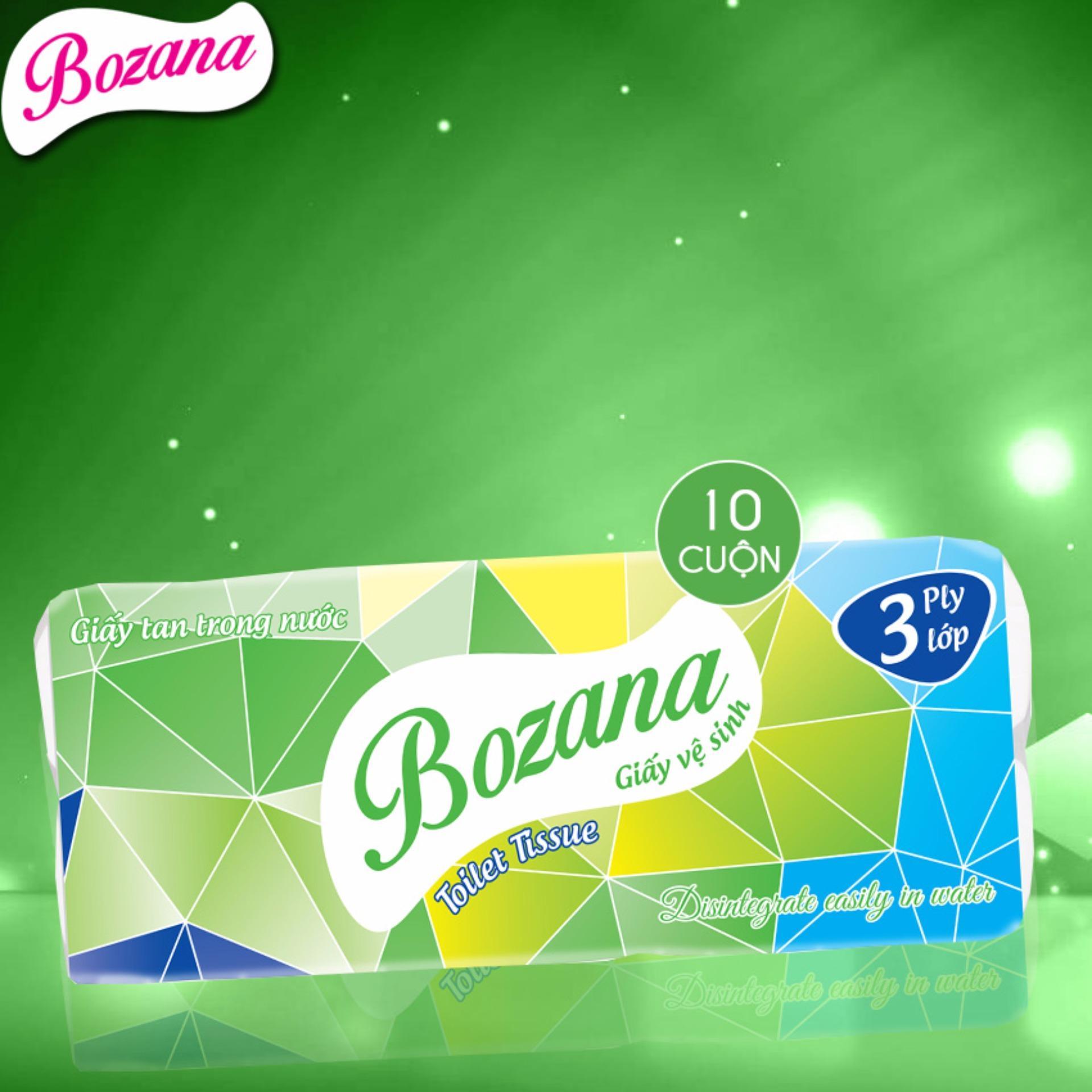 Mẫu sản phẩm Giấy vệ sinh Bozana 3 lớp 10 cuộn không lõi