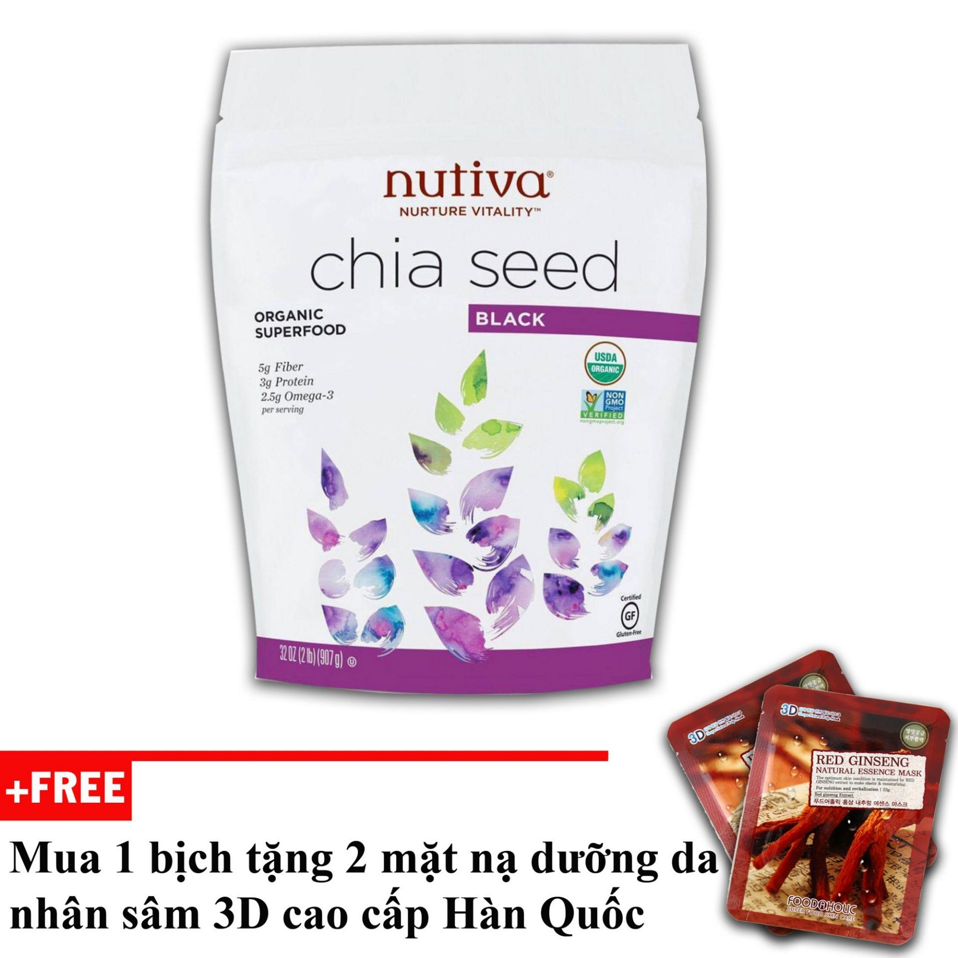 Hạt Chia Mỹ Nutiva Chia Seed Black + tặng 2 mặt nạ cao cấp Hàn Quốc [SuPhat Shop]