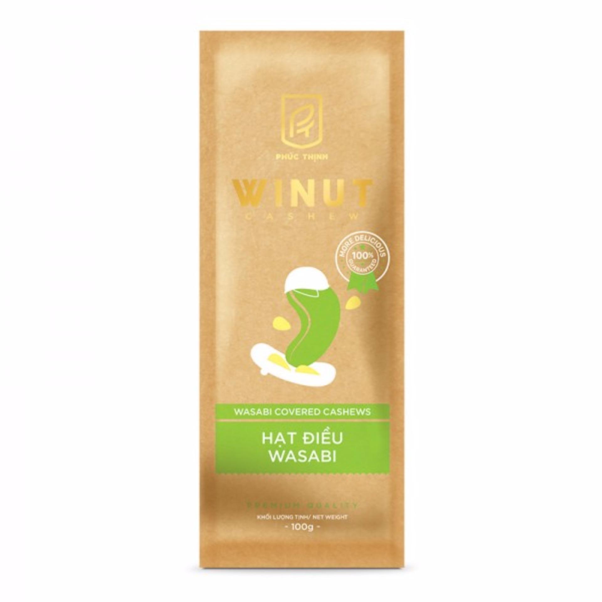 Hạt điều vị wasabi Winut 100gr (Túi giấy)