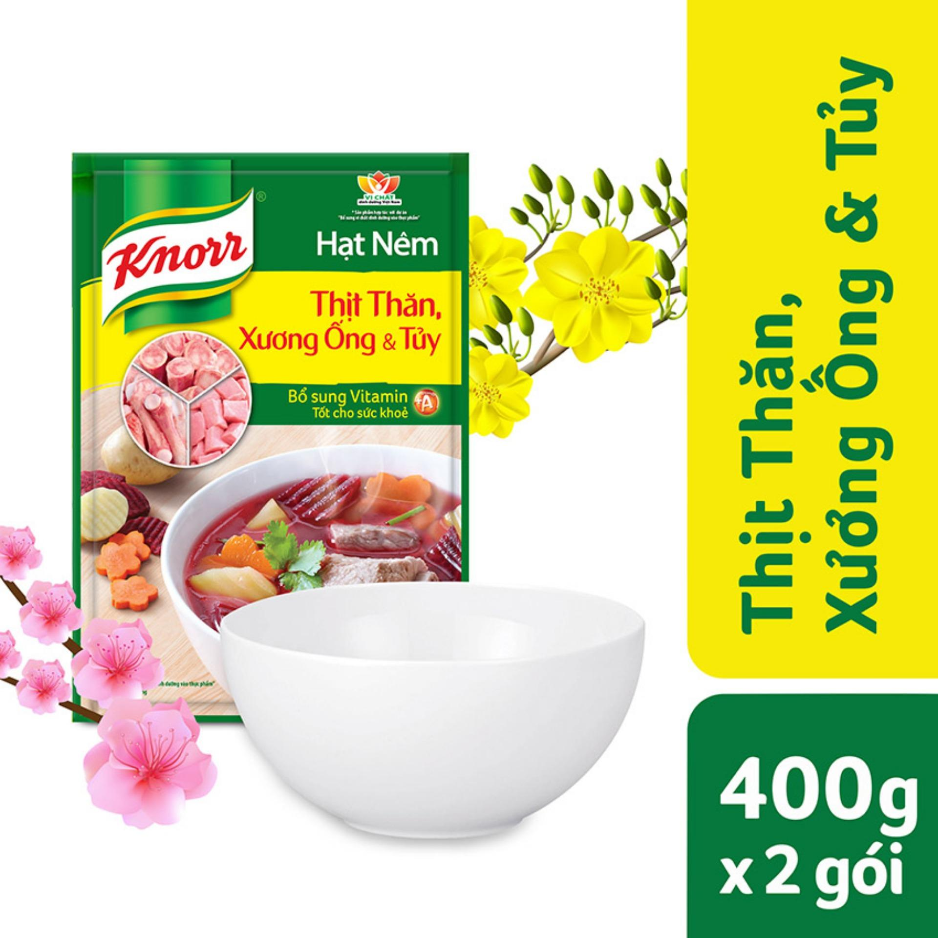 Hạt nêm Knorr Thịt thăn xương ống & tuỷ 400g x2 gói + Tặng 01 tô sứ