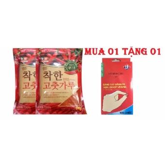 Mu 02 Gói Ớt Bột Hàn Quốc Nongwoo Nhập Khẩu Tặng 01 Hộp Găng TayNilon Tiện Lợi (100 cái)