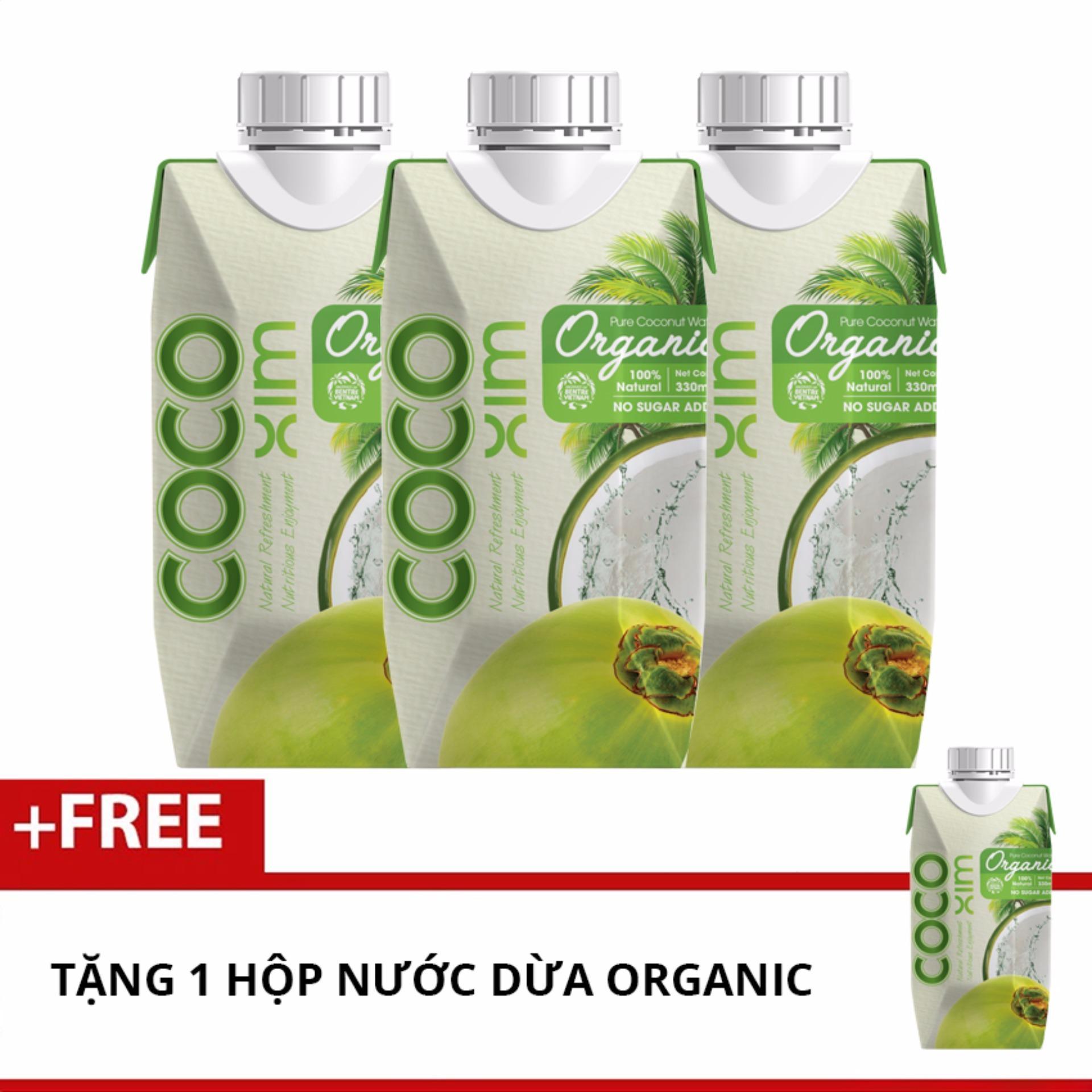 Mua 3 Hộp Nước Dừa Cocoxim Organic ( 330ml ) + Tặng 1 Hộp Cùng Loại