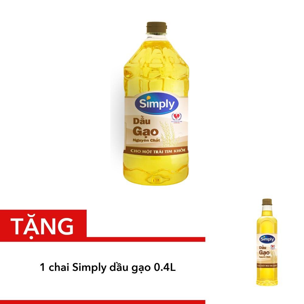 Bảng Báo Giá Mua Simply Dầu Gạo 2l tặng 1 chai Simply Dầu Gạo 0.4L