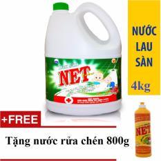 Giá KM Nước lau sàn NET Extra/Bạc Hà Diệt khuẩn can 4kg tặng nước rửa chén Net 800g đậm đặc