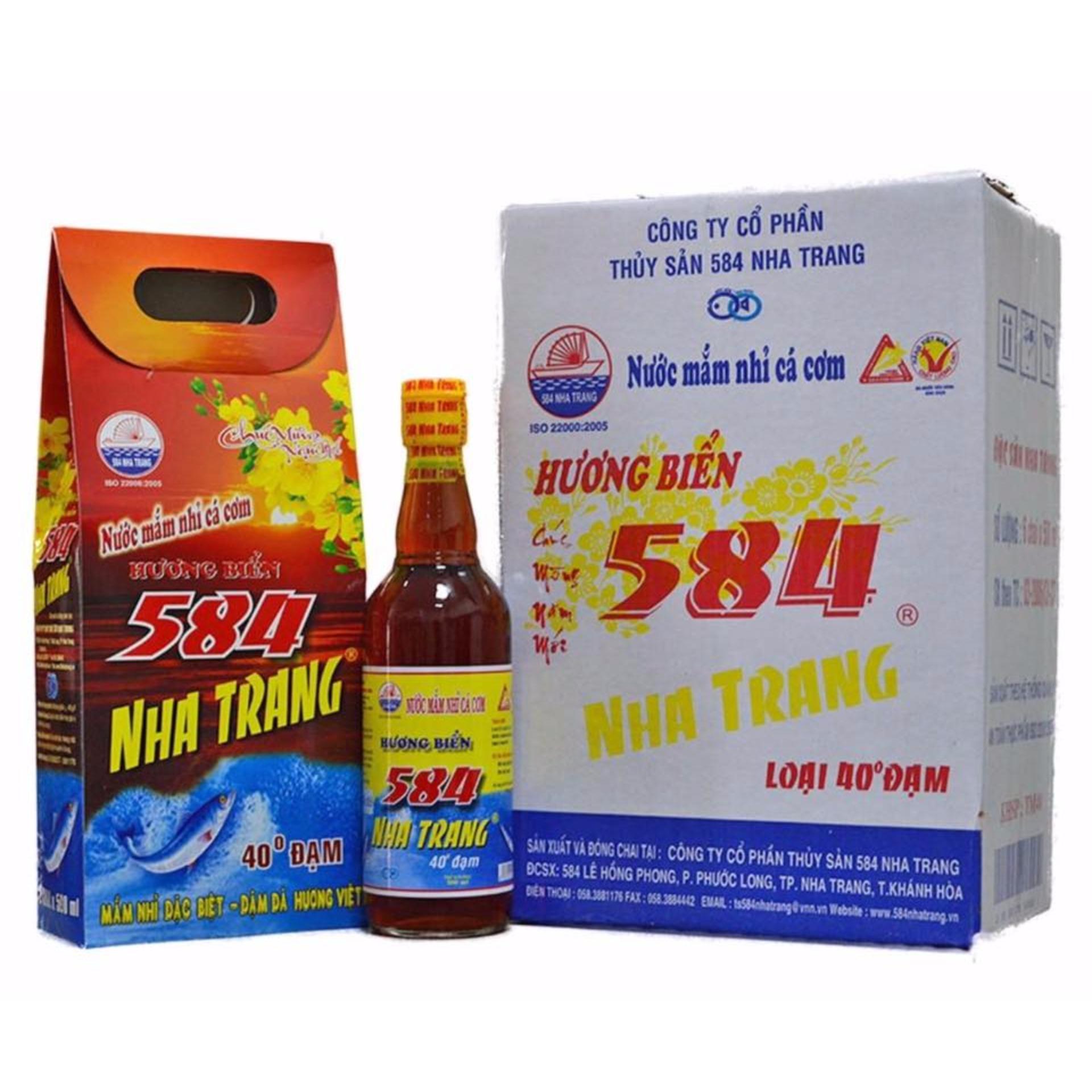 Nước Mắm 584 Nha Trang Chai Thủy Tinh 40 Đạm_TM40 (500ml x 6 chai)