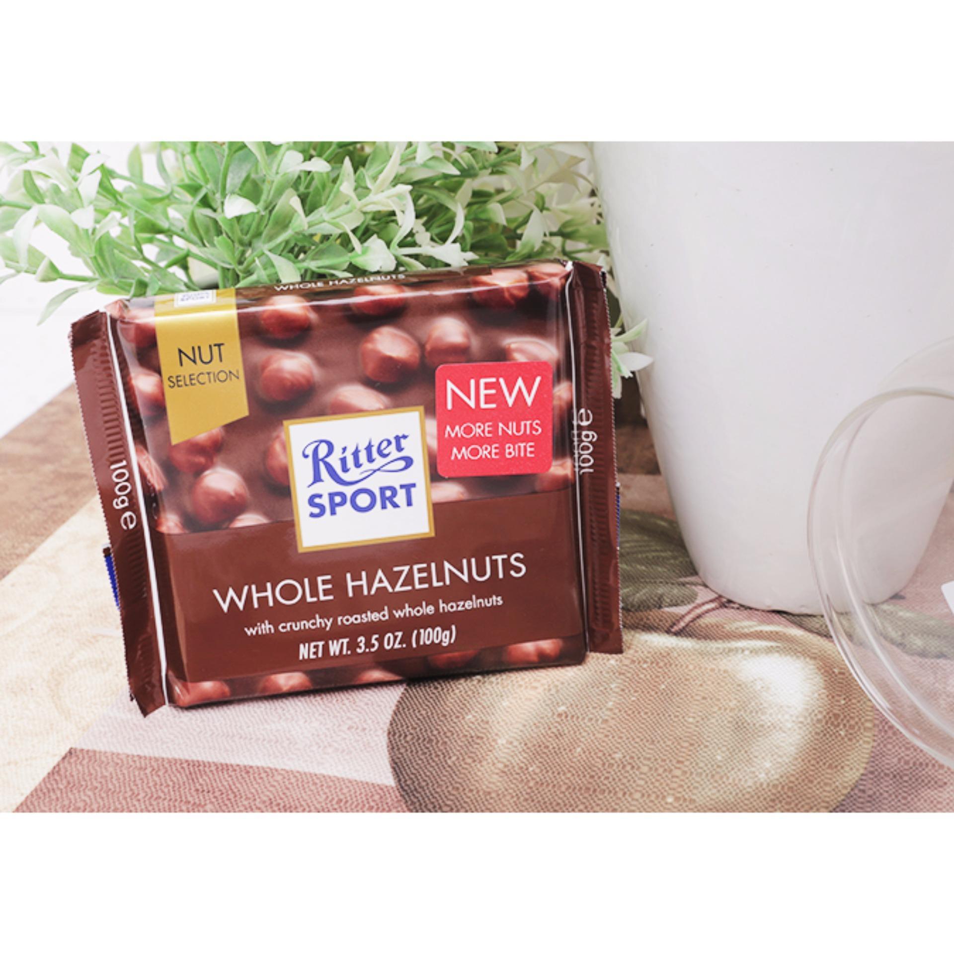 Tư vấn mua Socola Nhân Hạt Dẻ Ritter Sport Whole Hazelnuts 100g