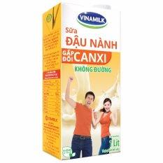 Thùng 12 Hộp Sữa đậu nành Vinamilk Gấp đôi Canxi không đường 1L (Hộp giấy)