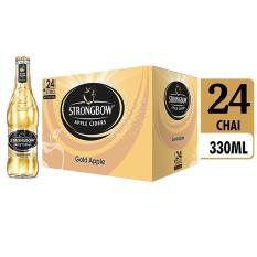 Nơi Bán Thùng 24 chai nước táo lên men Strongbow Gold – Vị táo nguyên bản 330ml