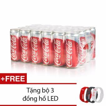 Thùng 24 lon Coca-cola Light 330ml tặng đồng hồ 3 màu