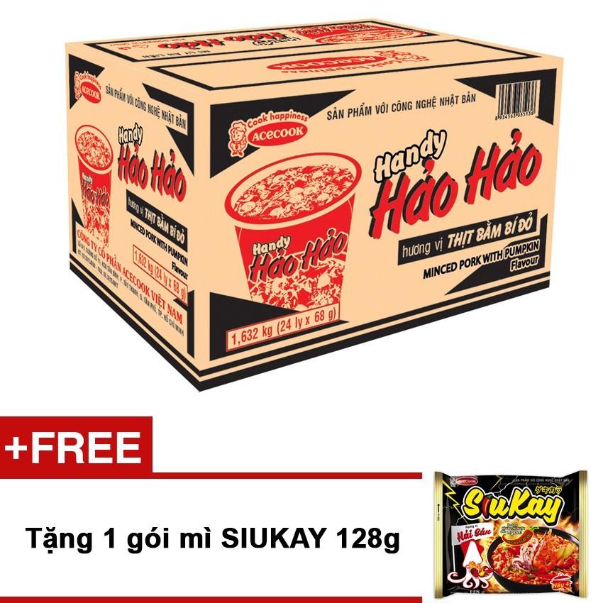 Tư vấn mua Thùng 24 ly mì Handy Hảo Hảo Thịt bằm bí đỏ + Tặng 1 gói mì SIUKAY 128g