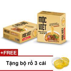 Mẫu sản phẩm Thùng 30 gói mì Mộc Việt vị Bò Hầm Rau Thơm + Tặng bộ rổ 3 cái