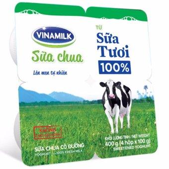 Thùng 48 Hộp Sữa chua ăn Vinamilk 100% sữa tươi loại có đường 100g