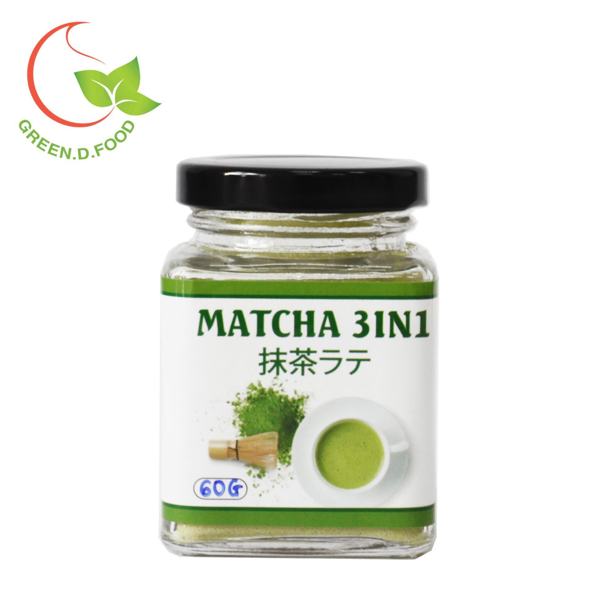 Trà matcha Nhật 3in1 (trà xanh sữa) - GreenD Food - Hũ 60g