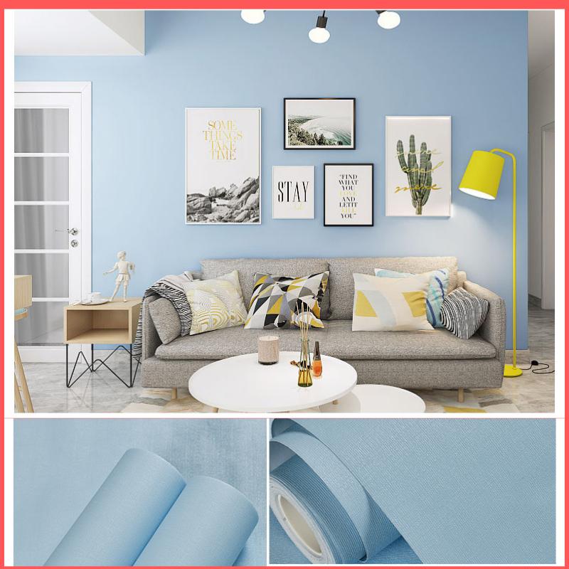 5 mét giấy dán tường màu xanh dương nhạt mặt nhám có keo sẵn khổ rộng 45cm, giấy dán tường màu xanh dương, giấy dán tường 5m màu xanh dương nhạt, giấy dán tường phòng khách, giấy decal dán tường xanh dương nhạt – Lala Mart