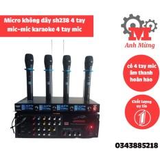 Mic không dây karaoke SH238 có 4 tay mic âm thanh hoàn hảo