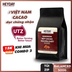 Bột cacao nguyên chất không đường Heyday – Balanced 12% bơ cacao tự nhiên – Túi zip 500g – Chứng nhận UTZ – Hỗ trợ giảm cân – Keto – Vị socola nguyên bản – Không hương liệu, phụ gia