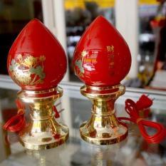 Cặp đèn đào cắm điện đặt bàn thờ-Nhiều cỡ