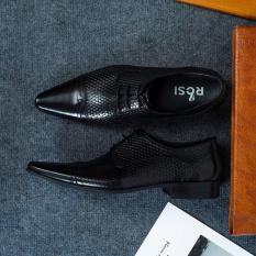 Giày da nam công sở buộc dây ROSI GS131 ĐEN Da bò 100%