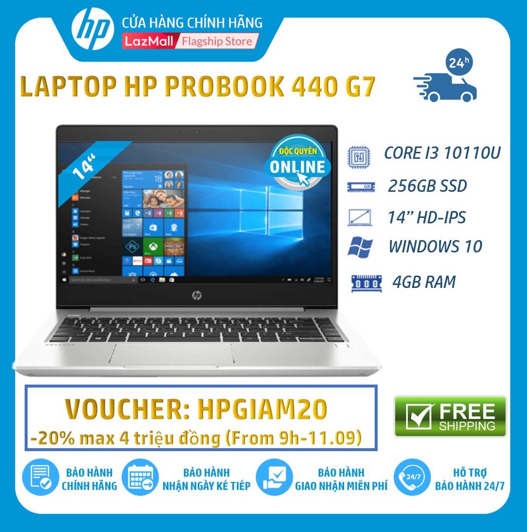 [Nhập mã HP3MIL giảm thêm 2 triệu] Laptop Máy tính xách tay HP ProBook 440 G7 (Intel Core i3-10110U,4GB RAM,256GB SSD,14″HD,Webcam, Fingerprint, Win 10 Home 64,1Y WTY)-1P5G9PA – Hàng chính hãng