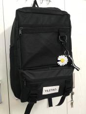 Balo thời trang cao cấp YILETAO + tặng kèm móc khóa hình bông hoa cúc (ĐEN) RID5