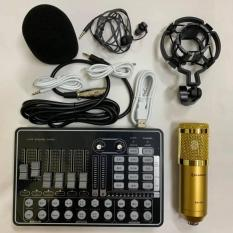 BỘ COMBO míc hát karaoke livestream online micro ZANGSONG BM-900 CARD H9 BLUETOOTH THẾ HỆ MỚI 21 HIỆU ỨNG tặng tai nghe
