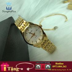 Đồng hồ nữ Halei HL562 vàng mặt trắng chống xước, chống nước + tặng kèm dự phòng pin AG4 + lắc tym vàng
