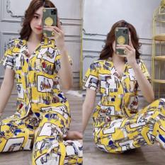 PIJAMA DÀI CÓ TÚI, Đồ Bộ Pijama Nữ Dài Có Túi Quần Vải Lụa Thái Cao Cấp Dày Mịn Đẹp Freesize Dưới 60Kg