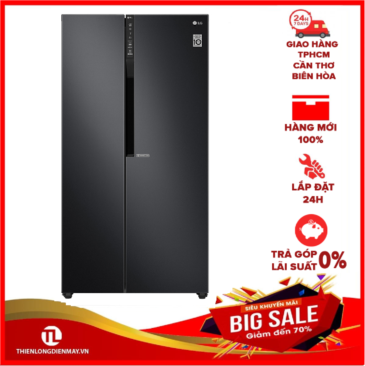 [THU THẬP VOUCHER 1.000K TỪ LZD] Tủ lạnh LG Inverter 613 lít GR-B247WB Mới 2020