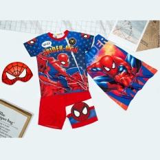 Bộ quần áo siêu nhân người nhện kèm áo choàng và mặt nạ – Đồ hoá trang siêu nhân tay ngắn bé trai TN16