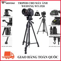 Tripod chân máy ảnh Weifeng WT-3520, khung nhôm cao cấp, cao 1.4m chịu tải 3kg hỗ trợ chụp hình, quay video, livestream có quai cầm tay, móc treo và túi đeo