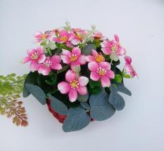 Rổ hoa giả trang trí diêu bông sắc hồng kỳ diệu