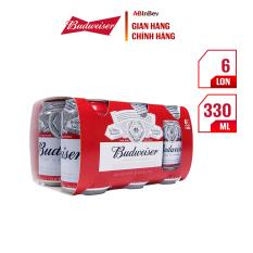 Lốc 6 lon bia Budweiser Chính Hãng (330ml/lon)