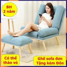 Ghế Sofa Đơn kèm Đôn, Ghế sofa lười phòng khách, ghế lười sofa có điều chỉnh ngả lưng, chân gỗ cao