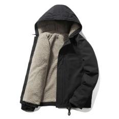 Áo khoác nam có mũ lót lông cừu-áo khoác kaki nam giới ấm áp