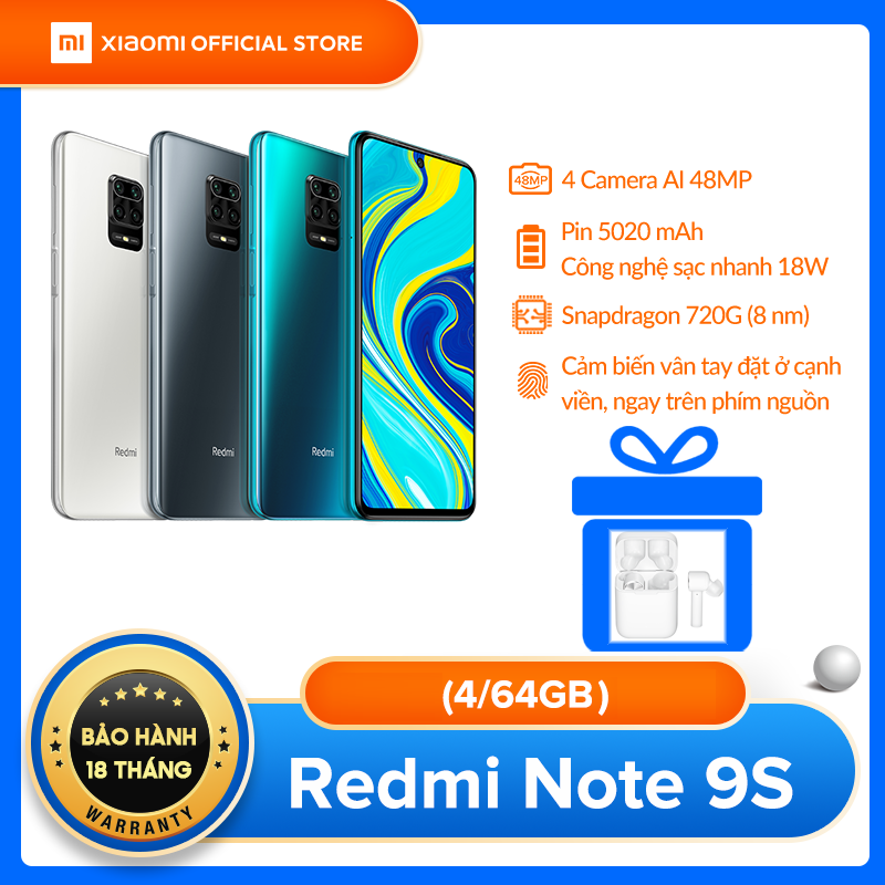 TẶNG TAI NGHE MI EARPHONES LITE – Điện thoại Xiaomi Redmi Note 9S 4GB/64G – Snapdragon 8 nhân 720G, Màn hình 6.67 inches, Pin khủng 5020mAh sạc nhanh 18W, 4 Camera 48MP/8MP/5MP/2MP góc siêu rộng – BH CHÍNH HÃNG 18 tháng