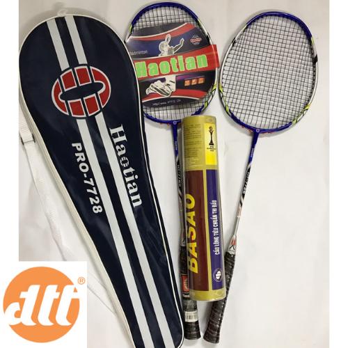 Bộ vợt cầu lông haotian 7728 tặng ngay 10 quả cầu lông Ba sao tập luyện